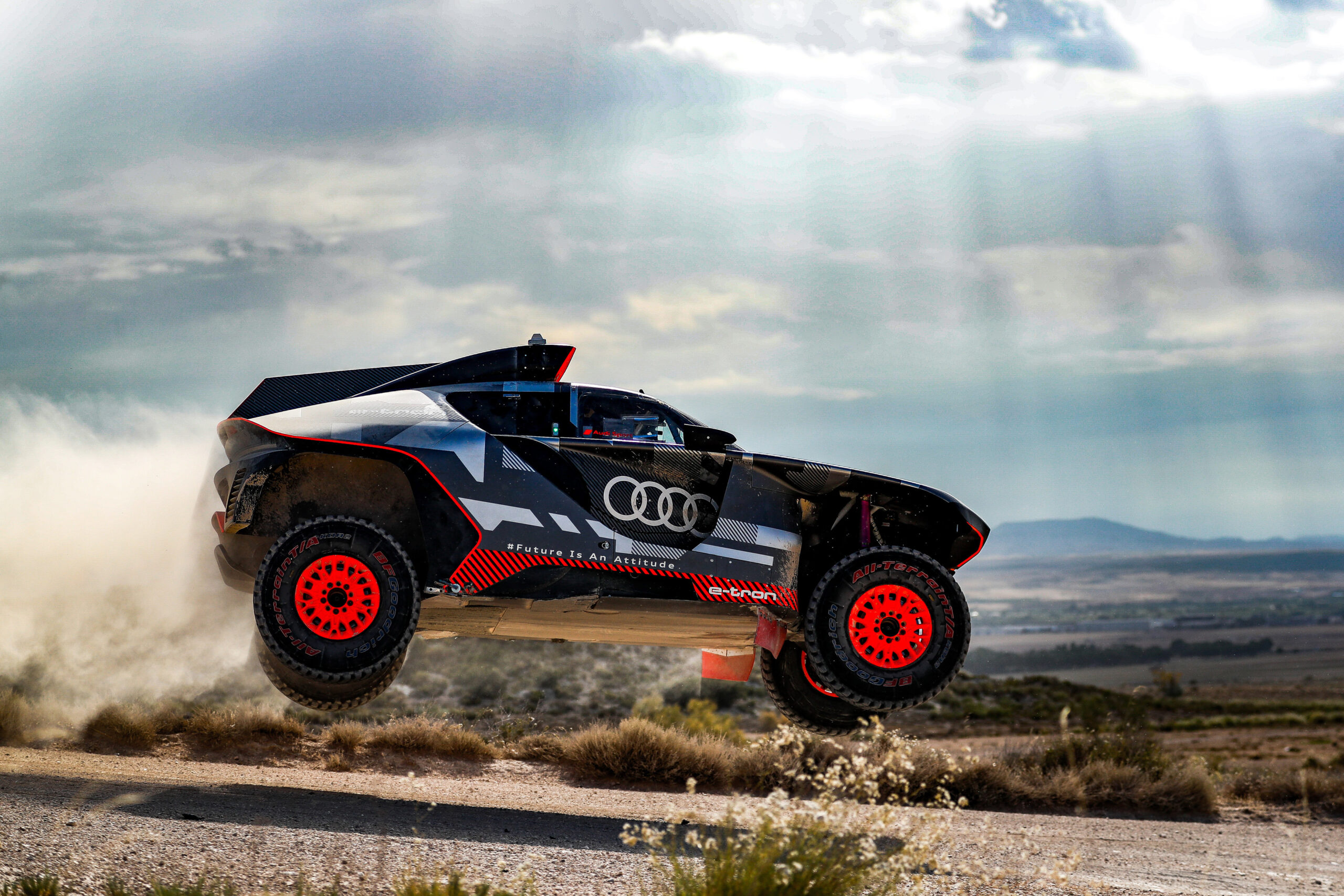 Audi RS Q e-tron being put through its paces under the Spanish sun